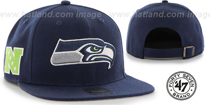 Seahawks 'SUPER-SHOT STRAPBACK' Navy Hat by Twins 47 Brand : pictured without stickers that these products are shipped with
