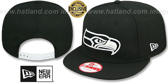 Seahawks 'TEAM-BASIC SNAPBACK' Black-White Hat by New Era : pictured without stickers that these products are shipped with