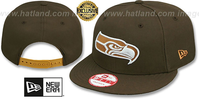 Seahawks 'TEAM-BASIC SNAPBACK' Brown-Wheat Hat by New Era : pictured without stickers that these products are shipped with