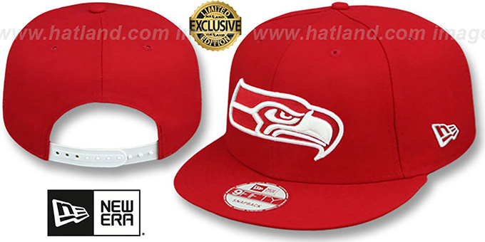 Seahawks 'TEAM-BASIC SNAPBACK' Red-White Hat by New Era : pictured without stickers that these products are shipped with