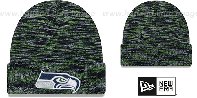 Seahawks 'TEAM-CRAZE' Navy-Lime Knit Beanie Hat by New Era : pictured without stickers that these products are shipped with