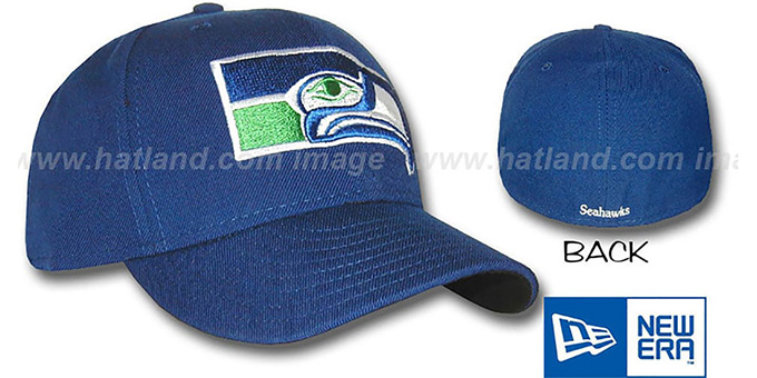 Seahawks 'TEAM LOGO' Fitted Hat by New Era : pictured without stickers that these products are shipped with