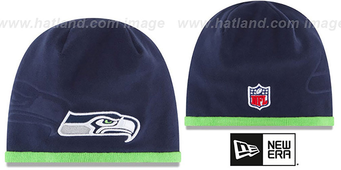 Seahawks 'TECH-KNIT STADIUM' Navy-Lime Knit Beanie Hat by New Era : pictured without stickers that these products are shipped with