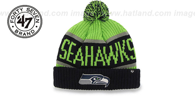 Seahawks 'THE-CALGARY' Navy-Lime Knit Beanie Hat by Twins 47 Brand : pictured without stickers that these products are shipped with