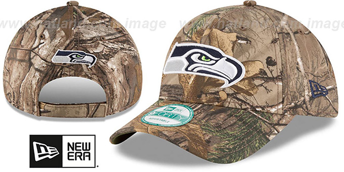 Seahawks 'THE LEAGUE REALTREE' Strapback Hat by New Era : pictured without stickers that these products are shipped with