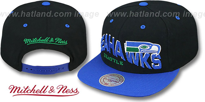 Seahawks 'THE-WAVE SNAPBACK' Black-Royal Hat by Mitchell and Ness : pictured without stickers that these products are shipped with