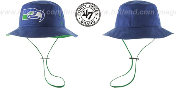 83b82dcb3fc7e Seahawks  THROWBACK KIRBY BUCKET  Royal Hat by Twins 47 Brand
