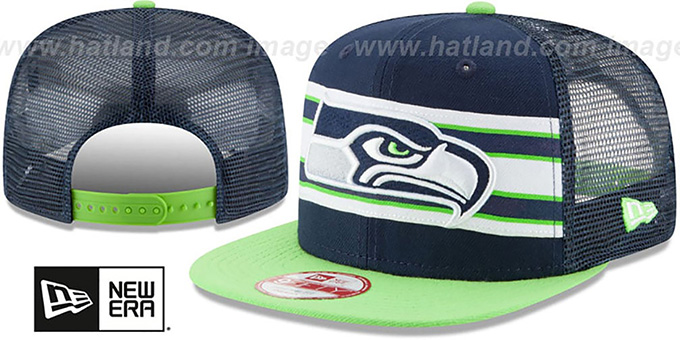 Seahawks 'THROWBACK-STRIPE SNAPBACK' Navy-Lime Hat by New Era : pictured without stickers that these products are shipped with