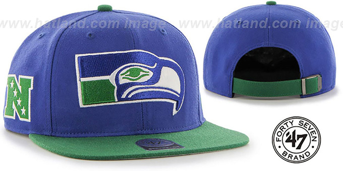 Seahawks 'THROWBACK SUPER-SHOT STRAPBACK' Royal-Green Hat by Twins 47 Brand : pictured without stickers that these products are shipped with