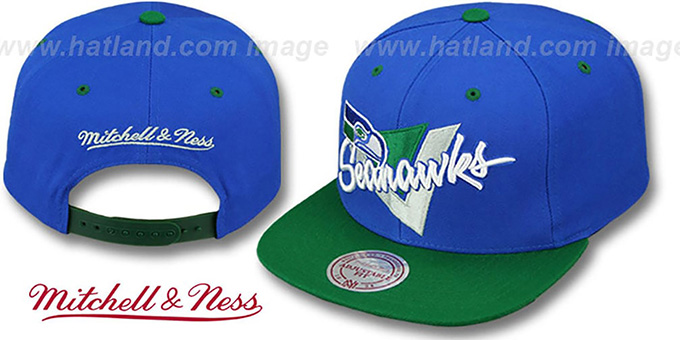 Seahawks 'TRIANGLE-SCRIPT SNAPBACK' Royal-Green Hat by Mitchell and Ness : pictured without stickers that these products are shipped with