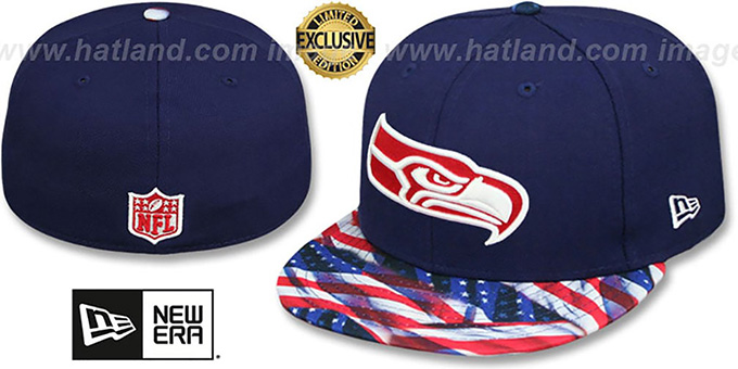 Seahawks 'USA WAVING-FLAG' Navy Fitted Hat by New Era : pictured without stickers that these products are shipped with