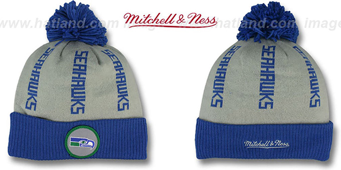 Seahawks 'VERTICAL WORD BEANIE' Grey-Royal by Mitchell and Ness : pictured without stickers that these products are shipped with