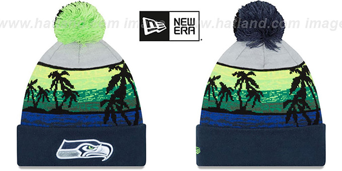 Seahawks 'WINTER BEACHIN' Knit Beanie Hat by New Era : pictured without stickers that these products are shipped with