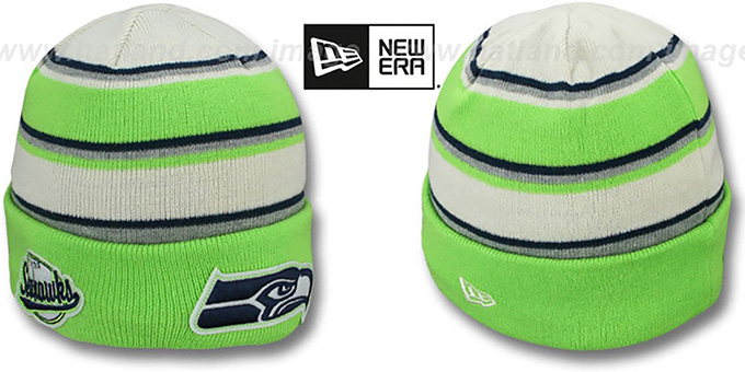 Seahawks 'WINTER TRADITION' Knit Beanie Hat by New Era : pictured without stickers that these products are shipped with