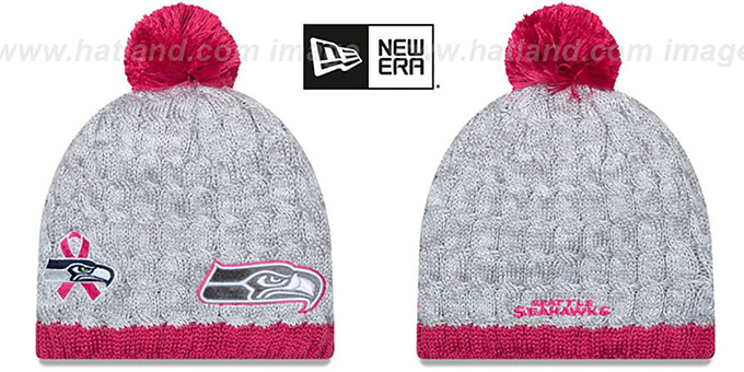 Seahawks 'WOMENS 2015 BCA' Knit Beanie Hat by New Era : pictured without stickers that these products are shipped with