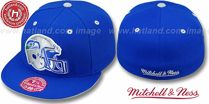 Seahawks 'XL-HELMET' Royal Fitted Hat by Mitchell & Ness : pictured without stickers that these products are shipped with