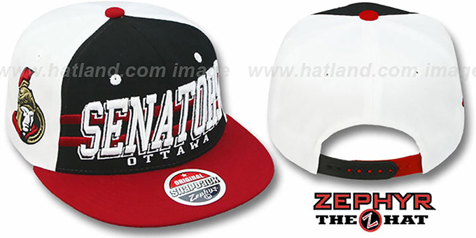 Senators '2T SUPERSONIC SNAPBACK' Black-Red Hat by Zephyr : pictured without stickers that these products are shipped with
