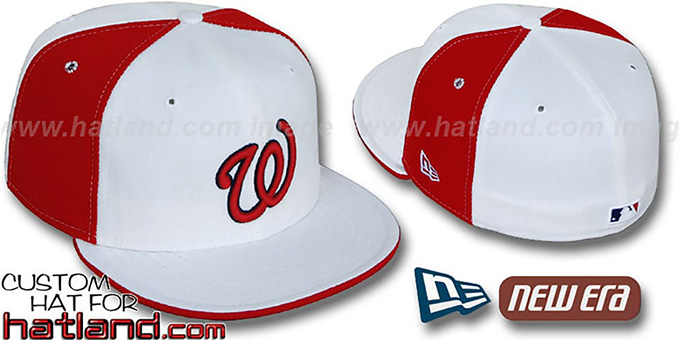 Senators 'COOPERSTOWN PINWHEEL' White-Red Fitted Hat : pictured without stickers that these products are shipped with