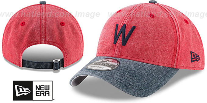 Senators 'GW COOP RUGGED CANVAS STRAPBACK' Red-Navy Hat by New Era : pictured without stickers that these products are shipped with