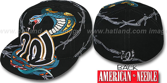 Senators 'SNAKE BITE' Black Fitted Hat by American Needle : pictured without stickers that these products are shipped with