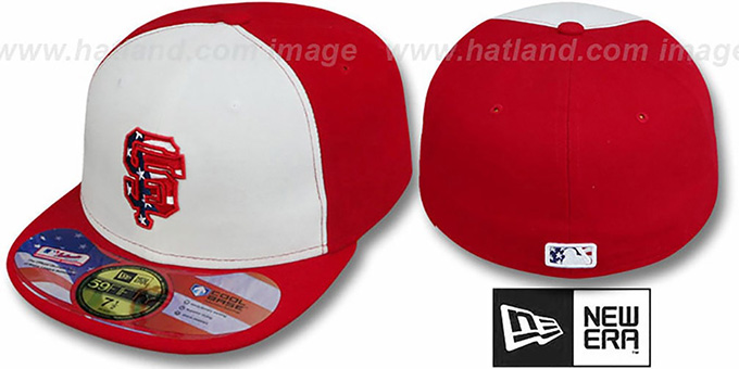 SF Giants '2011 STARS N STRIPES' White-Red Hat by New Era : pictured without stickers that these products are shipped with