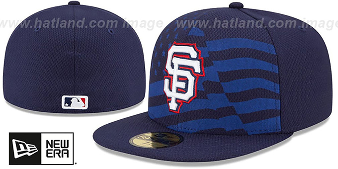 SF Giants '2015 JULY 4TH STARS N STRIPES' Hat by New Era : pictured without stickers that these products are shipped with