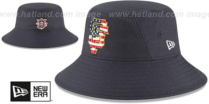 buy popular a101c c93de SF Giants  2018 JULY 4TH STARS N STRIPES BUCKET  Navy Hat by New Era