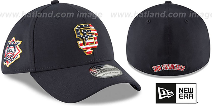 SF Giants  2018 JULY 4TH STARS N STRIPES FLEX  Navy Hat by New Era a3ed82f8c40