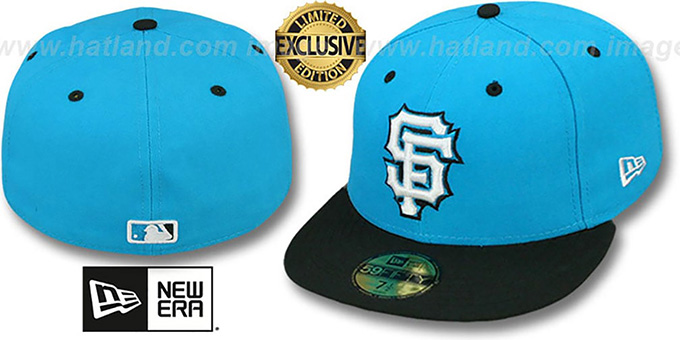 SF Giants '2T-GAMMA' Blue-Black Fitted Hat by New Era : pictured without stickers that these products are shipped with