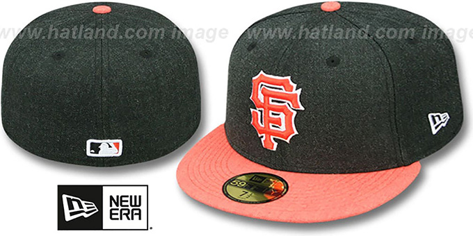 SF Giants '2T-HEATHER ACTION' Charcoal-Orange Fitted Hat by New Era : pictured without stickers that these products are shipped with