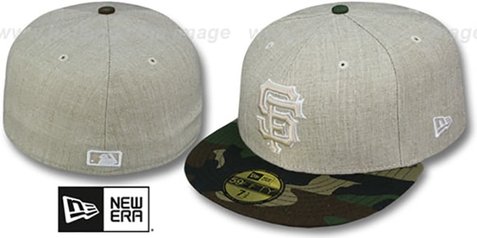SF Giants '2T-HEATHER' Oatmeal-Army Fitted Hat by New Era : pictured without stickers that these products are shipped with
