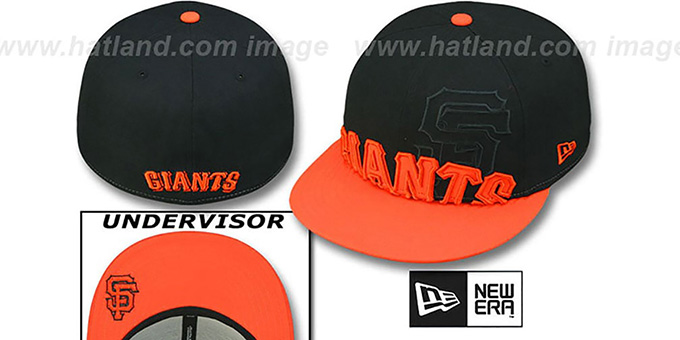 SF Giants '2T IN-DA-FACE' Black-Orange Fitted Hat by New Era : pictured without stickers that these products are shipped with