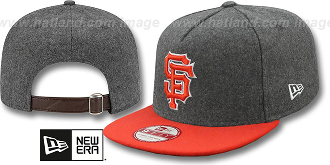 SF Giants '2T MELTON A-FRAME STRAPBACK' Hat by New Era : pictured without stickers that these products are shipped with