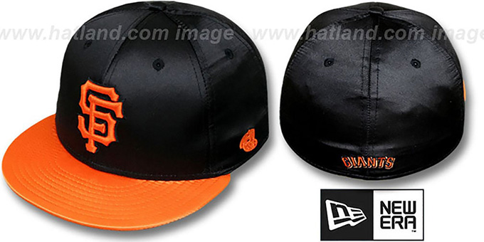 SF Giants '2T SATIN CLASSIC' Black-Orange Fitted Hat by New Era : pictured without stickers that these products are shipped with