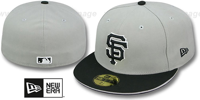 SF Giants '2T SPLIT TEAM-BASIC' Grey-Black Fitted Hat by New Era : pictured without stickers that these products are shipped with