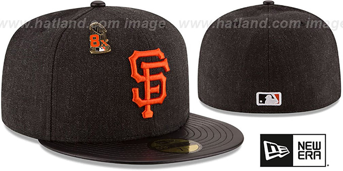 SF Giants 8X 'HEATHER-PIN' Black Fitted Hat by New Era : pictured without stickers that these products are shipped with