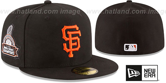 SF Giants 8X 'TITLES SIDE-PATCH' Black Fitted Hat by New Era : pictured without stickers that these products are shipped with