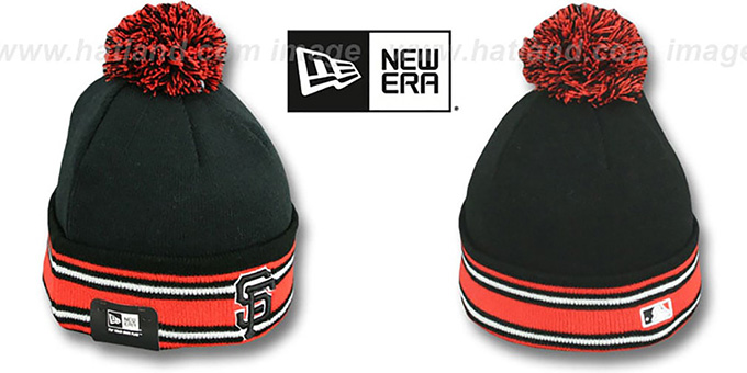 SF Giants 'AC-ONFIELD' Black Knit Beanie Hat by New Era : pictured without stickers that these products are shipped with