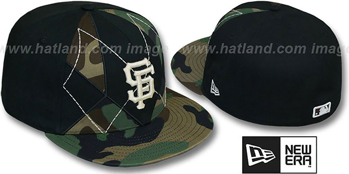 SF Giants 'ARMY CAMO BRADY' Fitted Hat by New Era : pictured without stickers that these products are shipped with