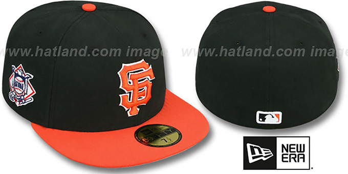 SF Giants 'BAYCIK' Black-Orange Fitted Hat by New Era : pictured without stickers that these products are shipped with