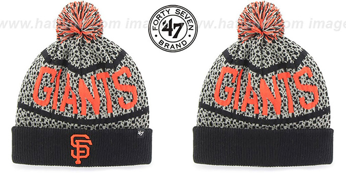 SF Giants 'BEDROCK' Black-Grey Knit Beanie Hat by Twins 47 Brand : pictured without stickers that these products are shipped with