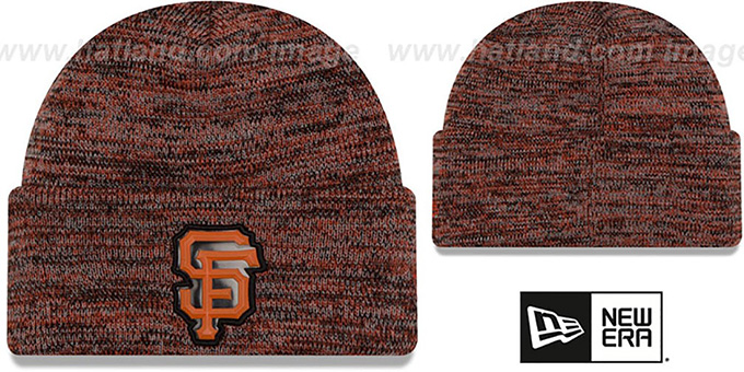 SF Giants 'BEVEL' Orange-Black Knit Beanie Hat by New Era : pictured without stickers that these products are shipped with