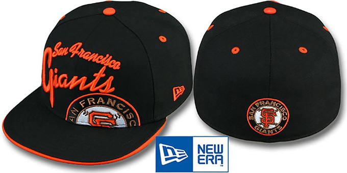SF Giants 'BIG-SCRIPT' Black Fitted Hat by New Era : pictured without stickers that these products are shipped with