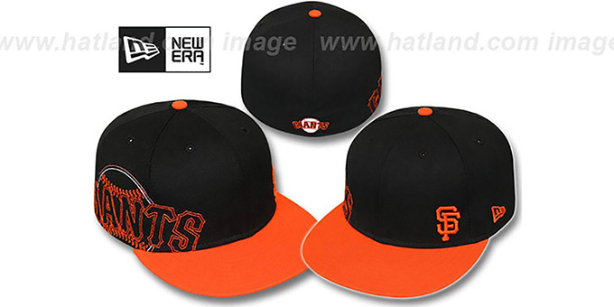 new arrival cf784 31ba3 SF Giants  BIG-STITCH  Black-Orange Fitted Hat by ...