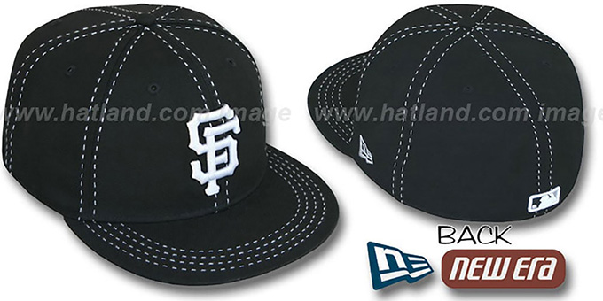 SF Giants 'BLACK PURSE STITCH' Fitted Hat by New Era : pictured without stickers that these products are shipped with