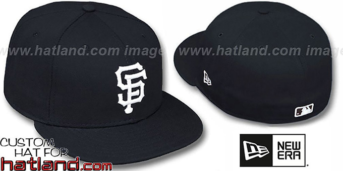 SF Giants 'TEAM-BASIC' Black-White Fitted Hat by New Era : pictured without stickers that these products are shipped with