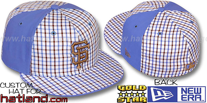 SF Giants 'BLUE BONNETT' Plaid-Light Blue Fitted Hat by New Era : pictured without stickers that these products are shipped with