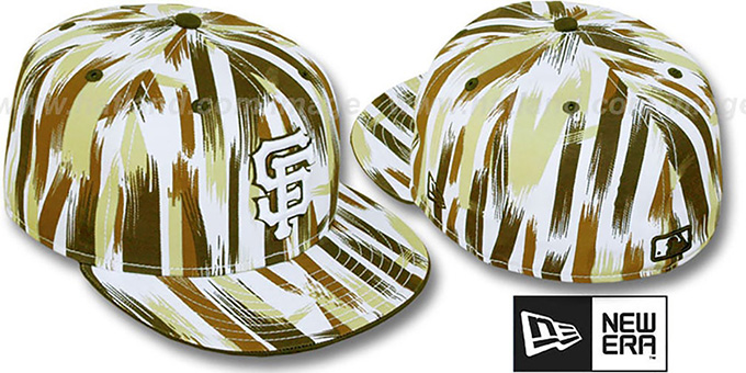 SF Giants 'BRUSH STROKES' White-Brown Fitted Hat by New Era : pictured without stickers that these products are shipped with