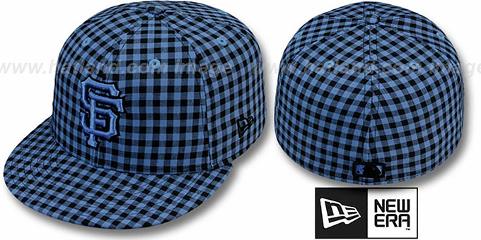 SF Giants 'BUFFALO GINGHAM' Sky-Black Fitted Hat by New Era : pictured without stickers that these products are shipped with