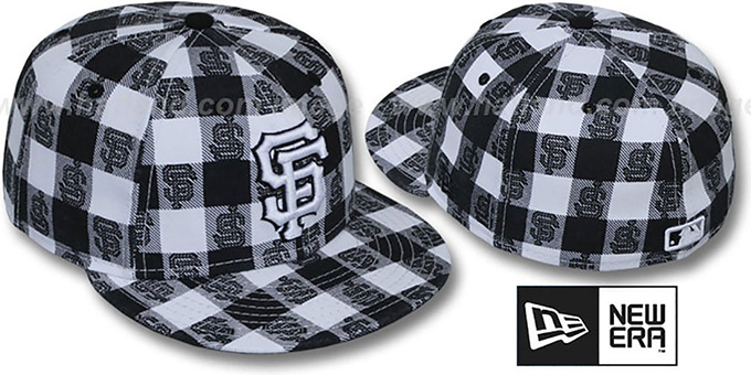 SF Giants 'BUFFALO PLAID' White-Black Fitted Hat by New Era : pictured without stickers that these products are shipped with